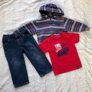 Boys Lucky Brand 🍀 3 piece hoodie & jeans outfit